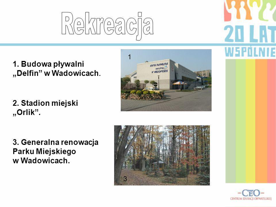 """Rekreacja 1. Budowa pływalni """"Delfin w Wadowicach."""