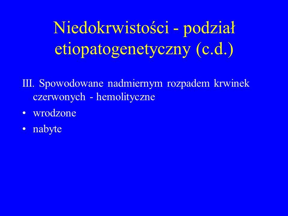 Niedokrwistości - podział etiopatogenetyczny (c.d.)