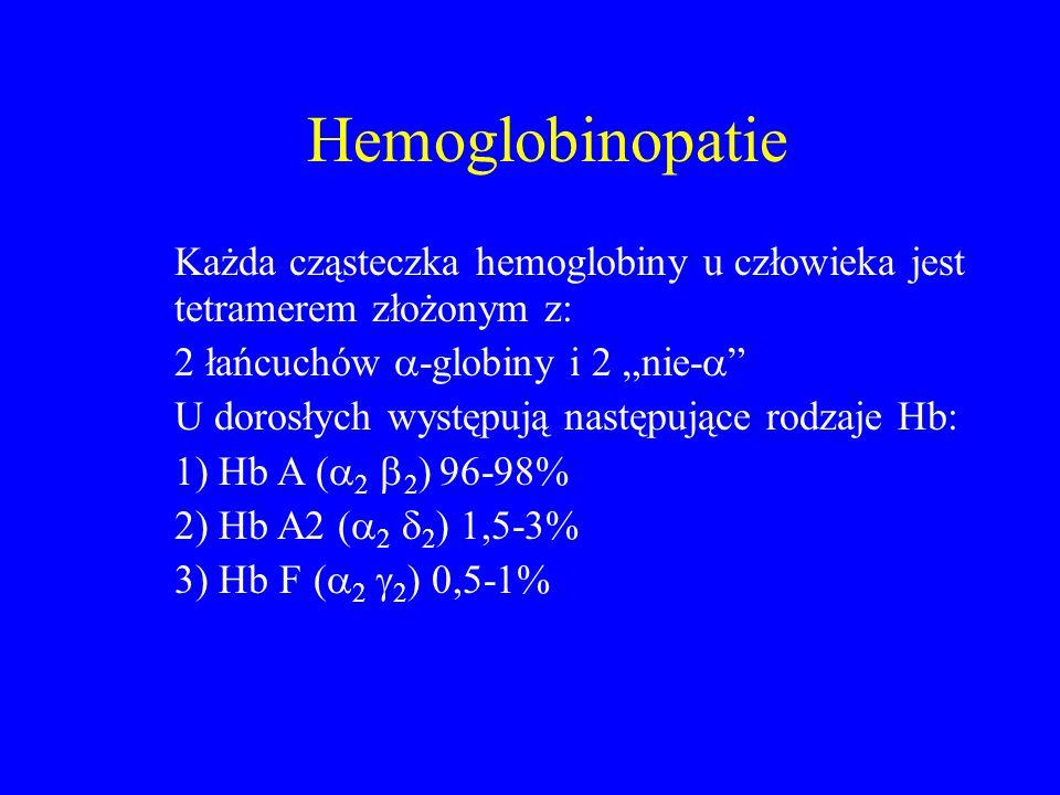 """Hemoglobinopatie Każda cząsteczka hemoglobiny u człowieka jest tetramerem złożonym z: 2 łańcuchów -globiny i 2 """"nie-"""