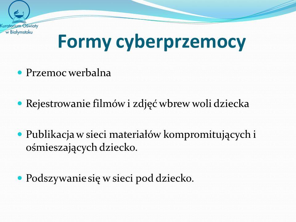 Formy cyberprzemocy Przemoc werbalna