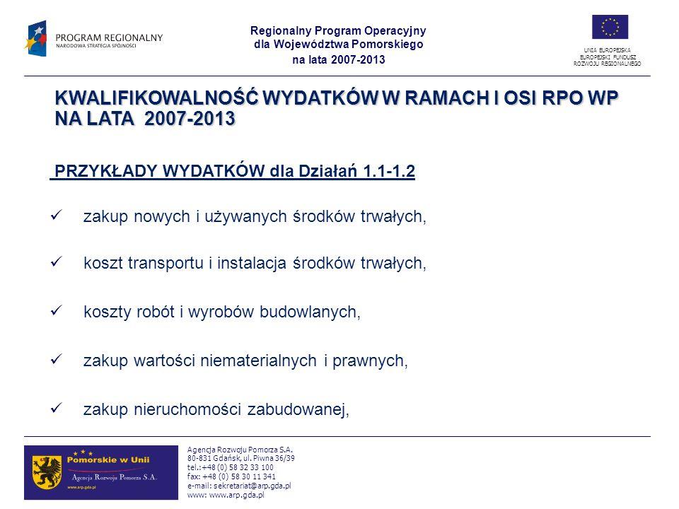 KWALIFIKOWALNOŚĆ WYDATKÓW W RAMACH I OSI RPO WP NA LATA 2007-2013