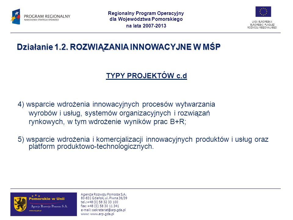 Działanie 1.2. ROZWIĄZANIA INNOWACYJNE W MŚP