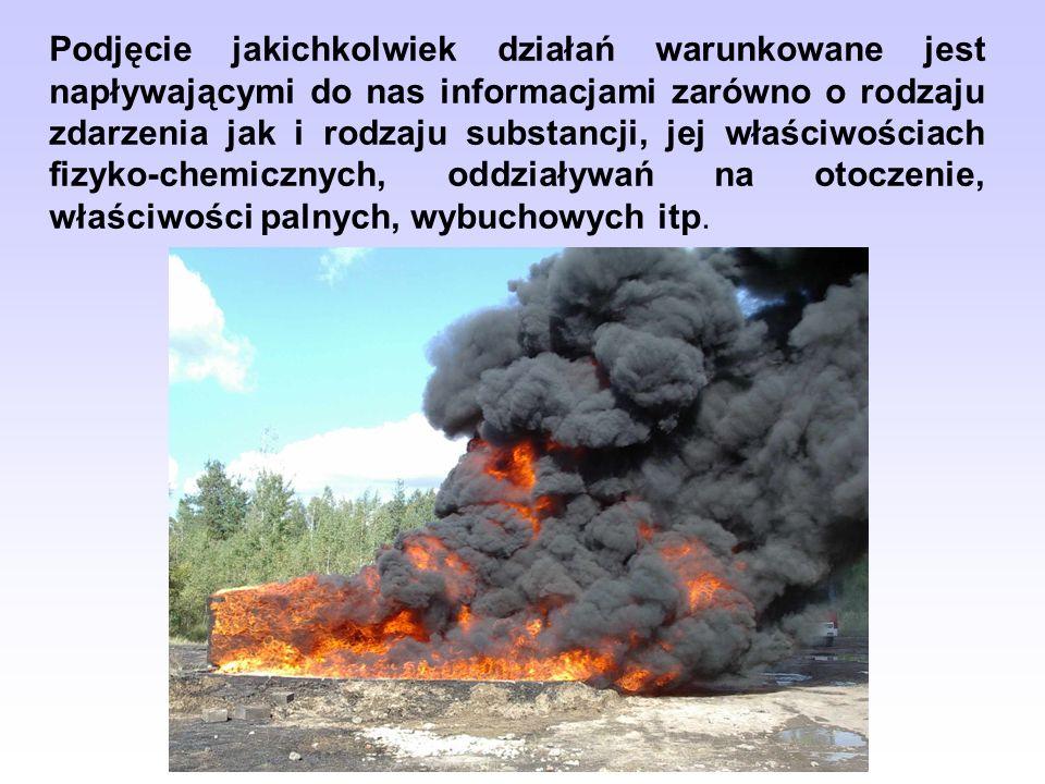 Podjęcie jakichkolwiek działań warunkowane jest napływającymi do nas informacjami zarówno o rodzaju zdarzenia jak i rodzaju substancji, jej właściwościach fizyko-chemicznych, oddziaływań na otoczenie, właściwości palnych, wybuchowych itp.