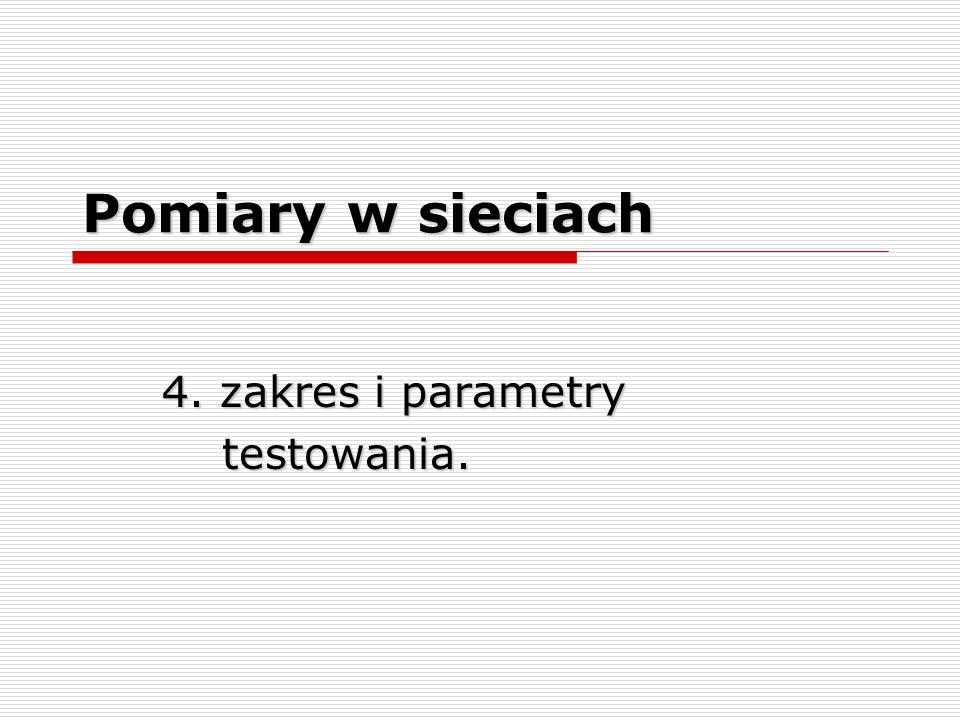4. zakres i parametry testowania.