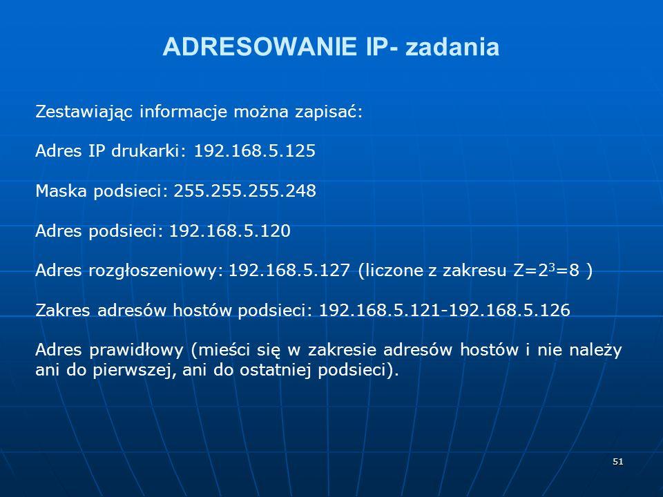 ADRESOWANIE IP- zadania