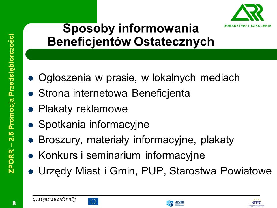Sposoby informowania Beneficjentów Ostatecznych