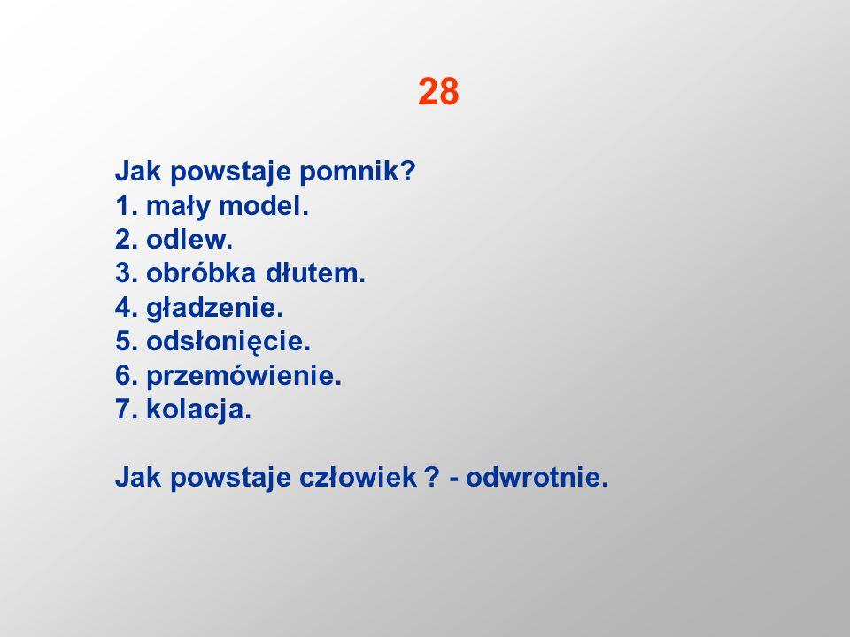 28 Jak powstaje pomnik 1. mały model. 2. odlew. 3. obróbka dłutem.