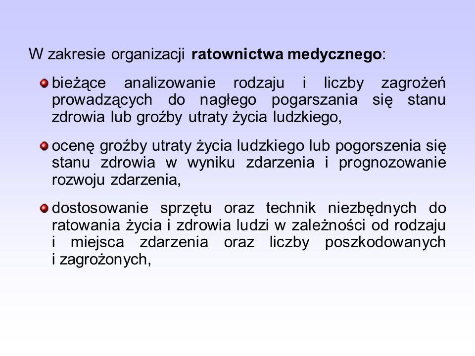 W zakresie organizacji ratownictwa medycznego: