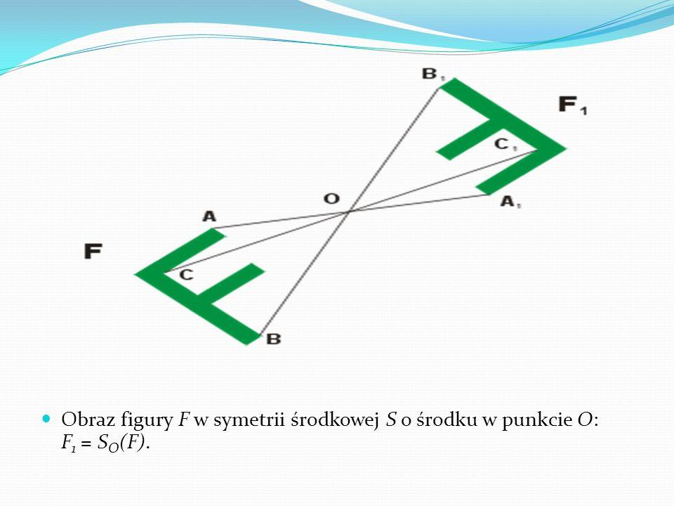 Obraz figury F w symetrii środkowej S o środku w punkcie O: F1 = SO(F).