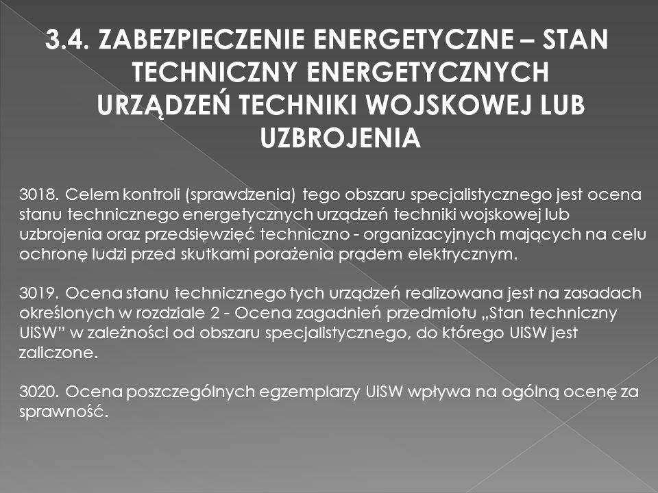 3.4. ZABEZPIECZENIE ENERGETYCZNE – STAN TECHNICZNY ENERGETYCZNYCH URZĄDZEŃ TECHNIKI WOJSKOWEJ LUB UZBROJENIA