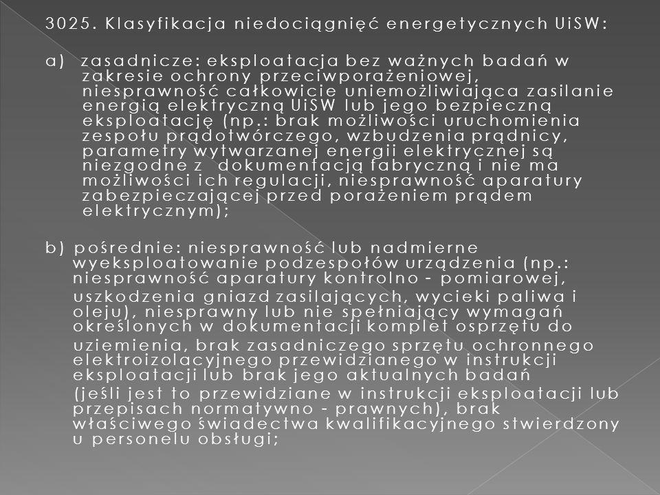 3025. Klasyfikacja niedociągnięć energetycznych UiSW: