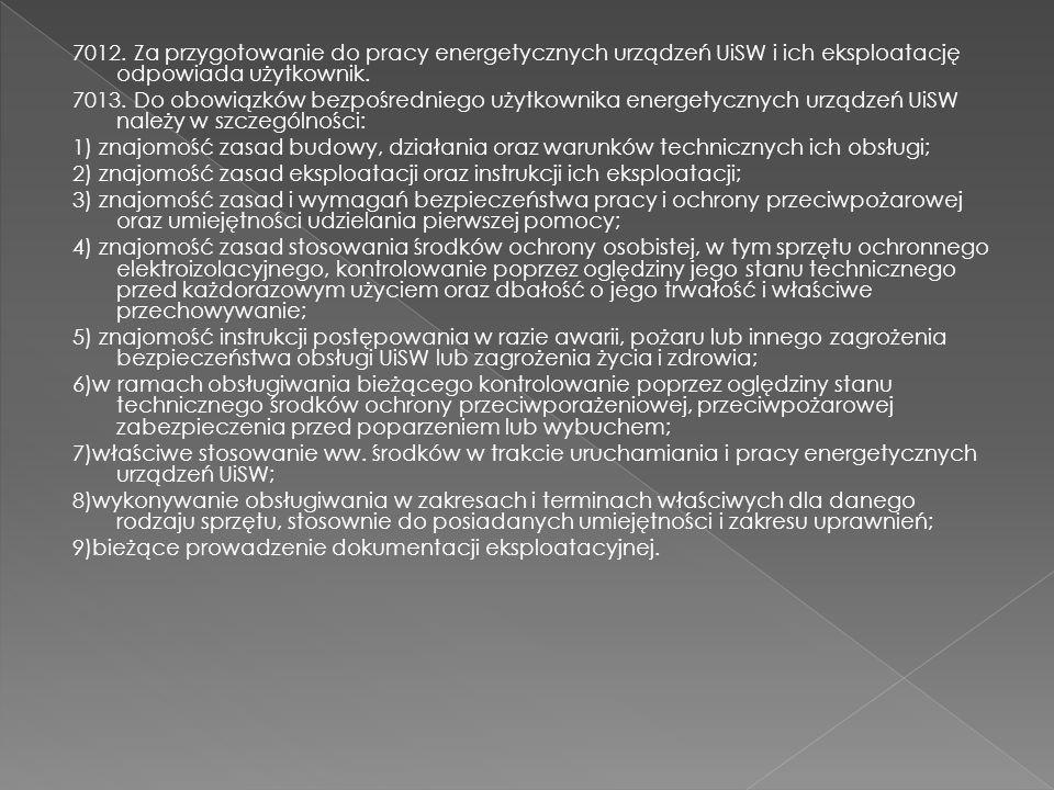 7012. Za przygotowanie do pracy energetycznych urządzeń UiSW i ich eksploatację odpowiada użytkownik.
