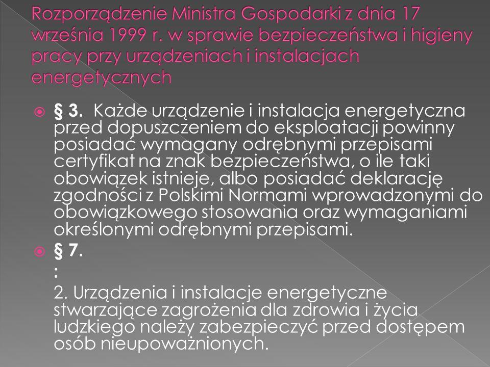 Rozporządzenie Ministra Gospodarki z dnia 17 września 1999 r