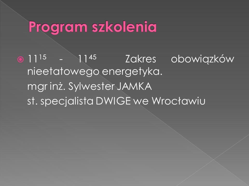 Program szkolenia 1115 - 1145 Zakres obowiązków nieetatowego energetyka. mgr inż. Sylwester JAMKA.