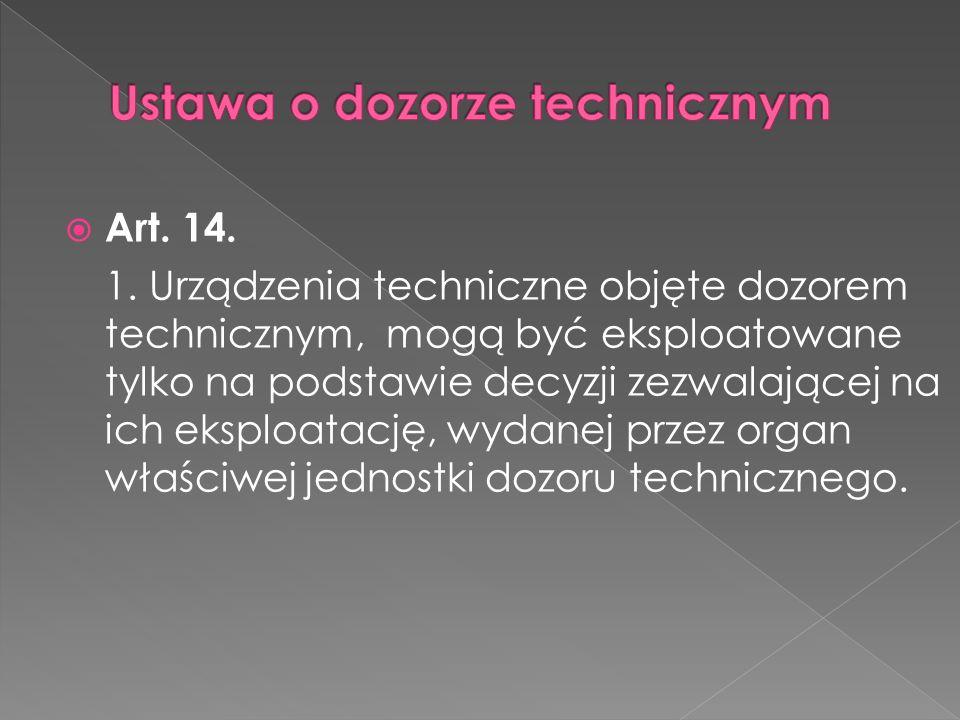 Ustawa o dozorze technicznym