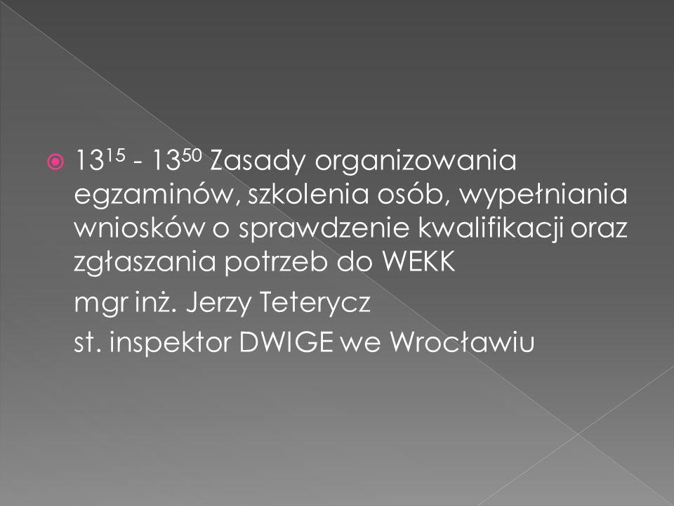1315 - 1350 Zasady organizowania egzaminów, szkolenia osób, wypełniania wniosków o sprawdzenie kwalifikacji oraz zgłaszania potrzeb do WEKK