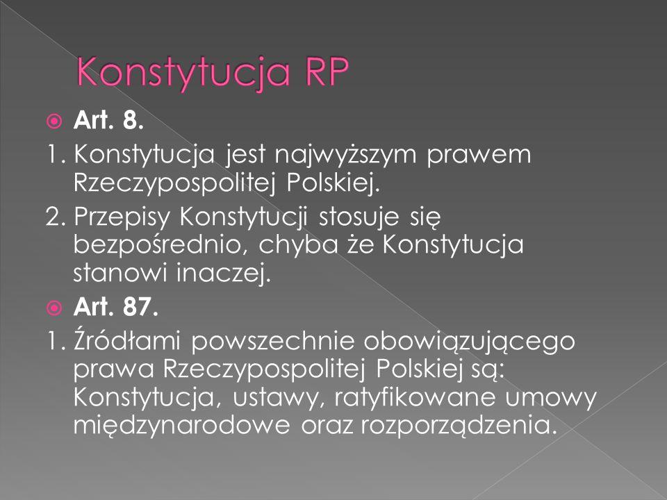 Konstytucja RP Art. 8. 1. Konstytucja jest najwyższym prawem Rzeczypospolitej Polskiej.