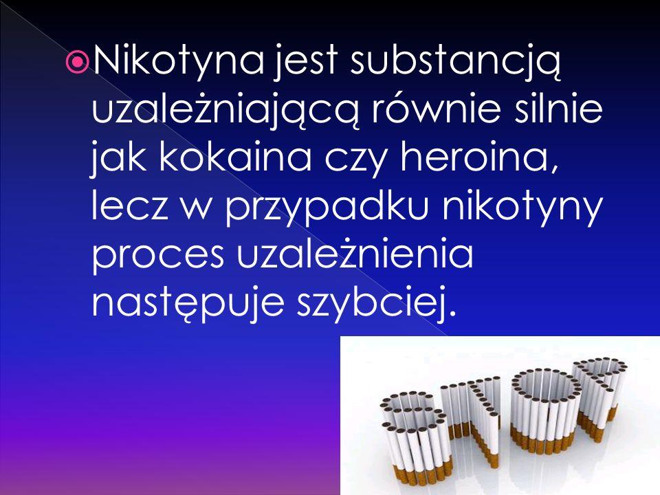 Nikotyna jest substancją uzależniającą równie silnie jak kokaina czy heroina, lecz w przypadku nikotyny proces uzależnienia następuje szybciej.