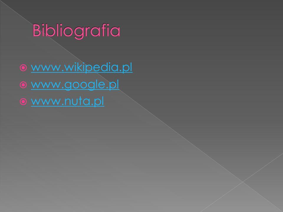 Bibliografia www.wikipedia.pl www.google.pl www.nuta.pl