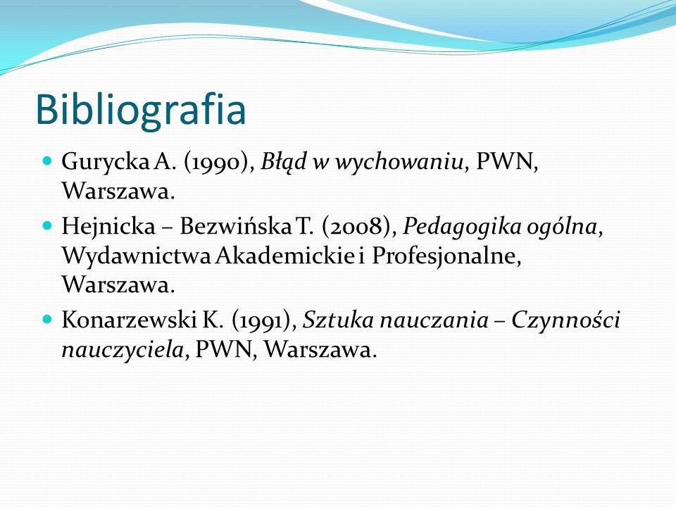 Bibliografia Gurycka A. (1990), Błąd w wychowaniu, PWN, Warszawa.
