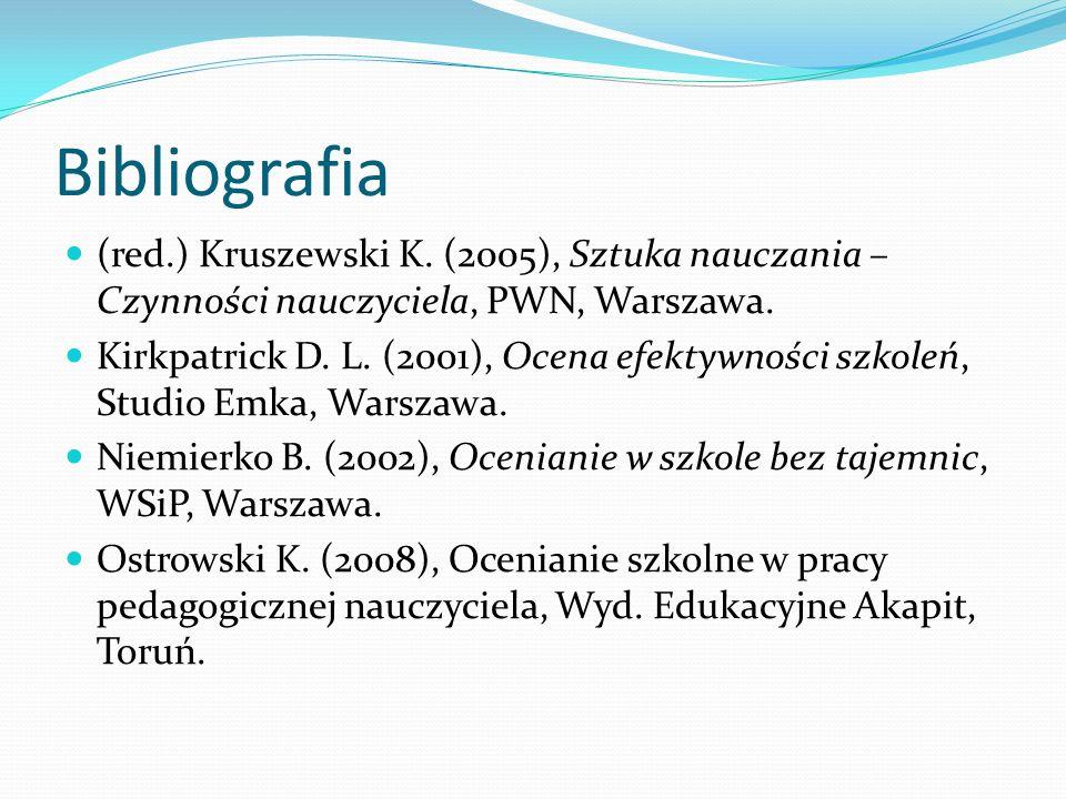 Bibliografia (red.) Kruszewski K. (2005), Sztuka nauczania – Czynności nauczyciela, PWN, Warszawa.