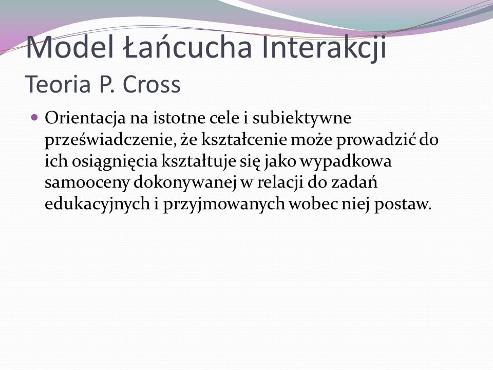 Model Łańcucha Interakcji Teoria P. Cross