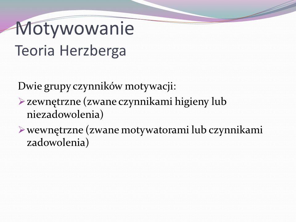 Motywowanie Teoria Herzberga