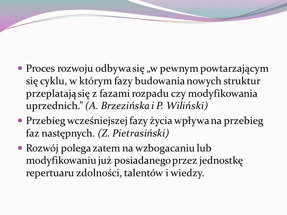 """Proces rozwoju odbywa się """"w pewnym powtarzającym się cyklu, w którym fazy budowania nowych struktur przeplatają się z fazami rozpadu czy modyfikowania uprzednich. (A. Brzezińska i P. Wiliński)"""