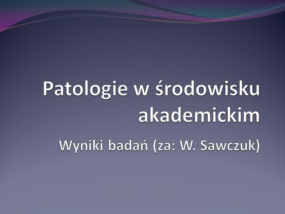 Patologie w środowisku akademickim Wyniki badań (za: W. Sawczuk)