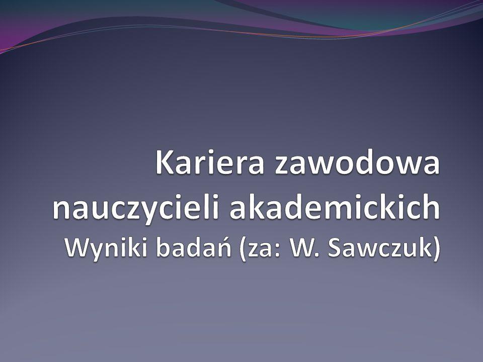 Kariera zawodowa nauczycieli akademickich Wyniki badań (za: W. Sawczuk)