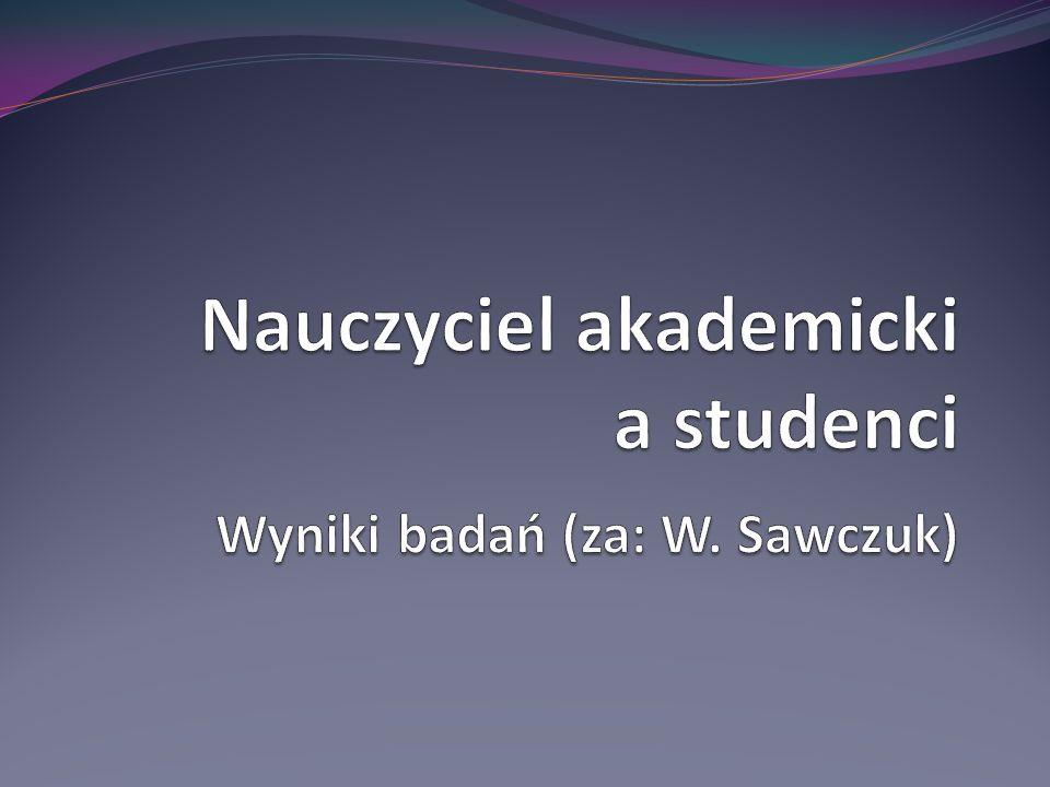 Nauczyciel akademicki a studenci Wyniki badań (za: W. Sawczuk)