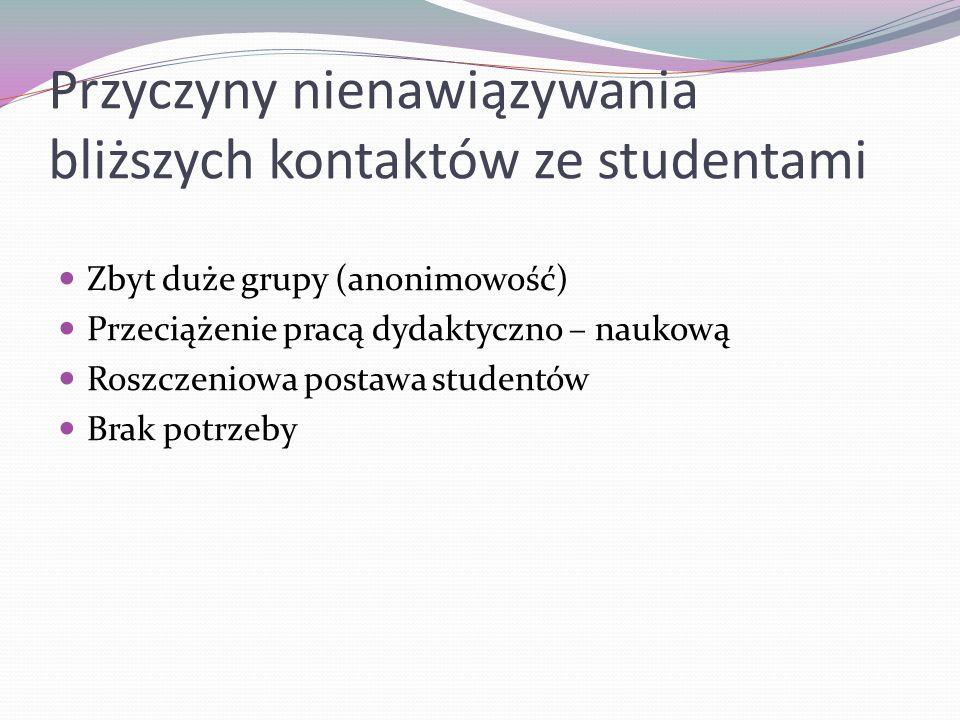 Przyczyny nienawiązywania bliższych kontaktów ze studentami