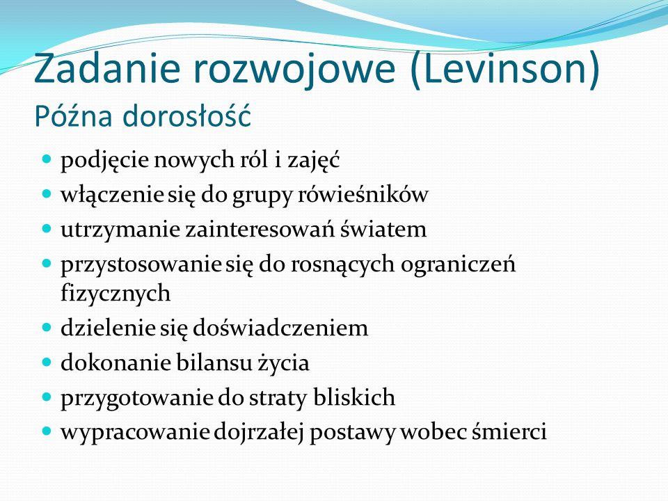 Zadanie rozwojowe (Levinson) Późna dorosłość