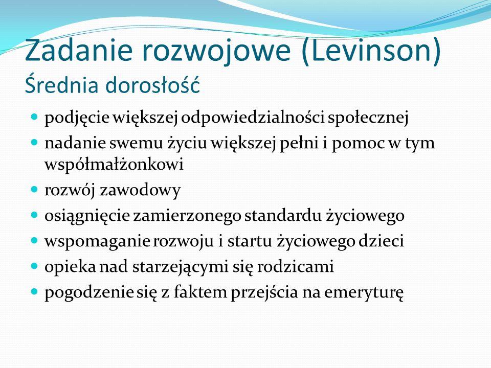 Zadanie rozwojowe (Levinson) Średnia dorosłość
