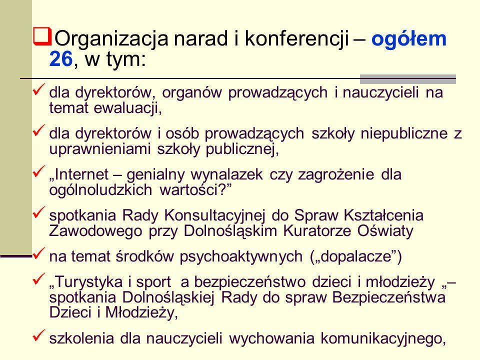 Organizacja narad i konferencji – ogółem 26, w tym:
