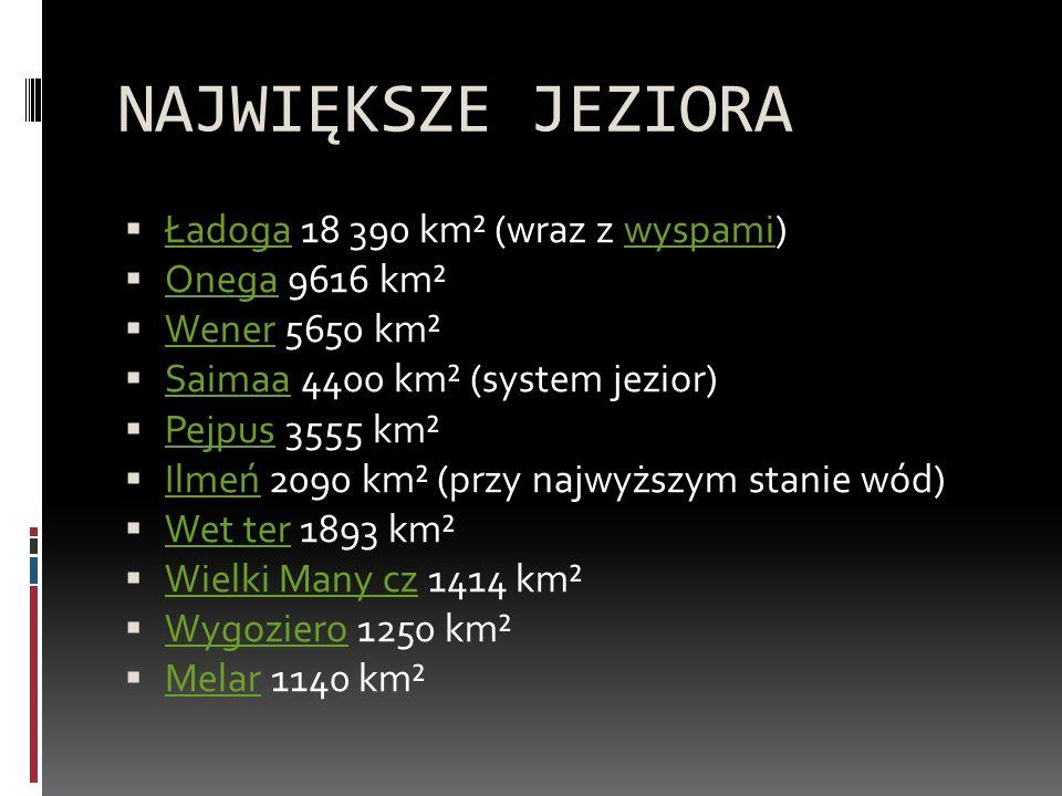 NAJWIĘKSZE JEZIORA Ładoga 18 390 km² (wraz z wyspami) Onega 9616 km²