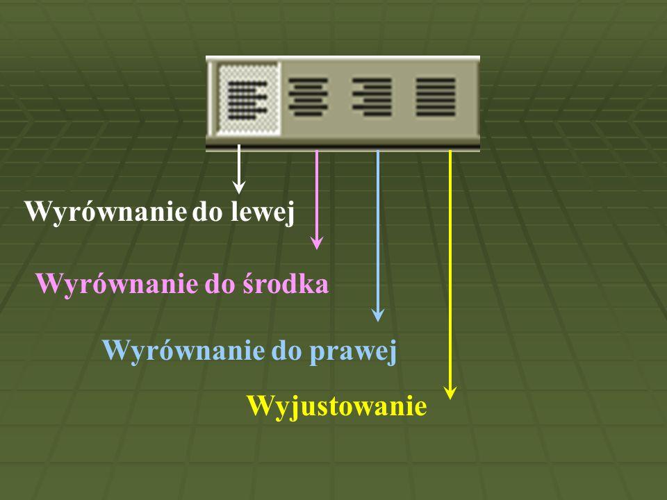 Wyrównanie do lewej Wyrównanie do środka Wyrównanie do prawej Wyjustowanie