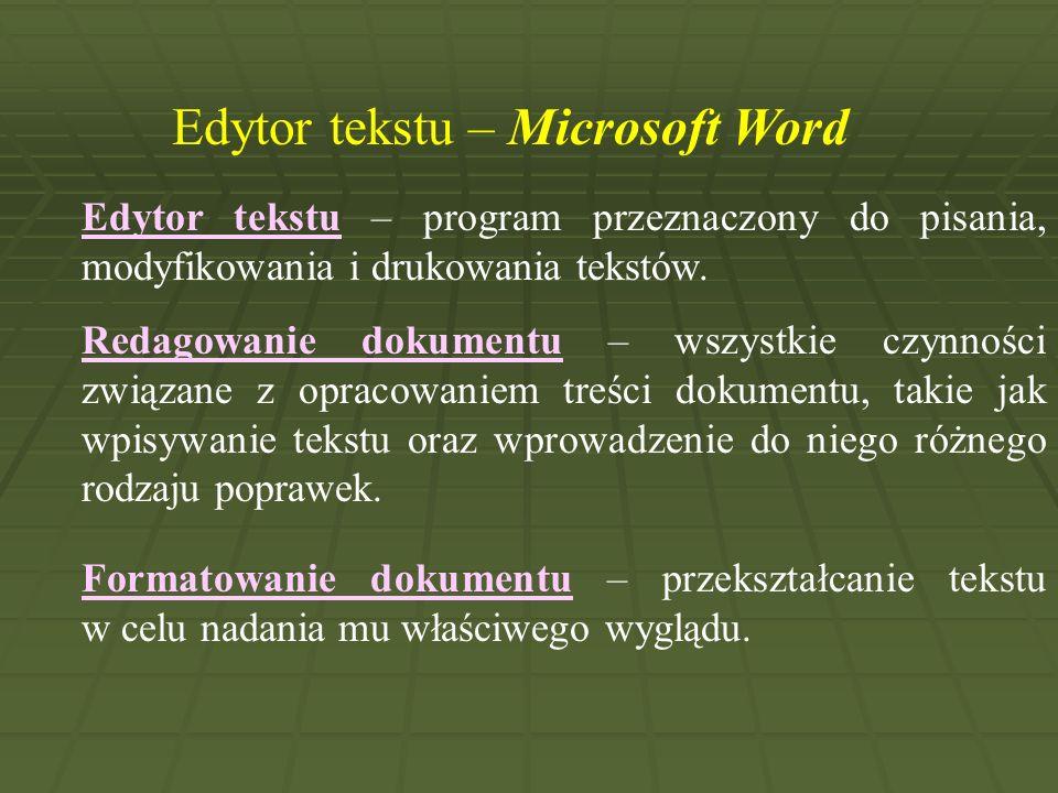 Edytor tekstu – Microsoft Word