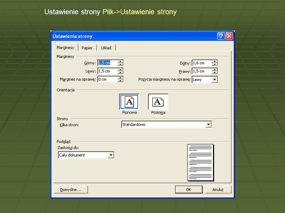 Ustawienie strony Plik->Ustawienie strony