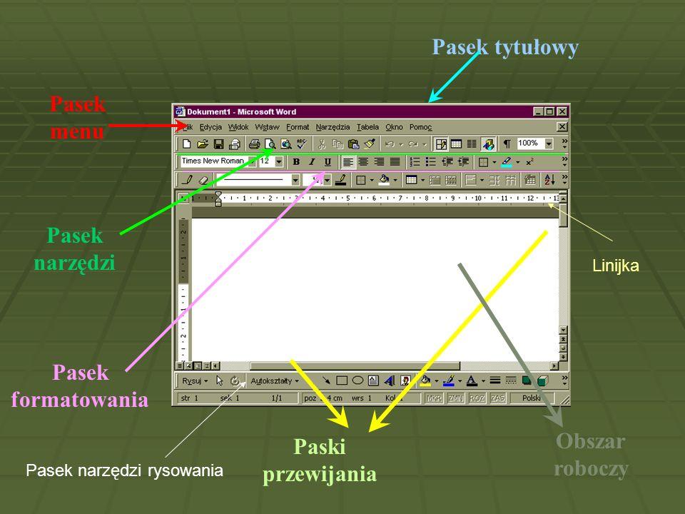 Pasek tytułowy Pasek menu Pasek narzędzi Pasek formatowania