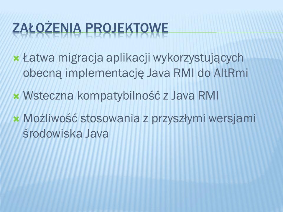 3/28/2017 Założenia projektowe. Łatwa migracja aplikacji wykorzystujących obecną implementację Java RMI do AltRmi.