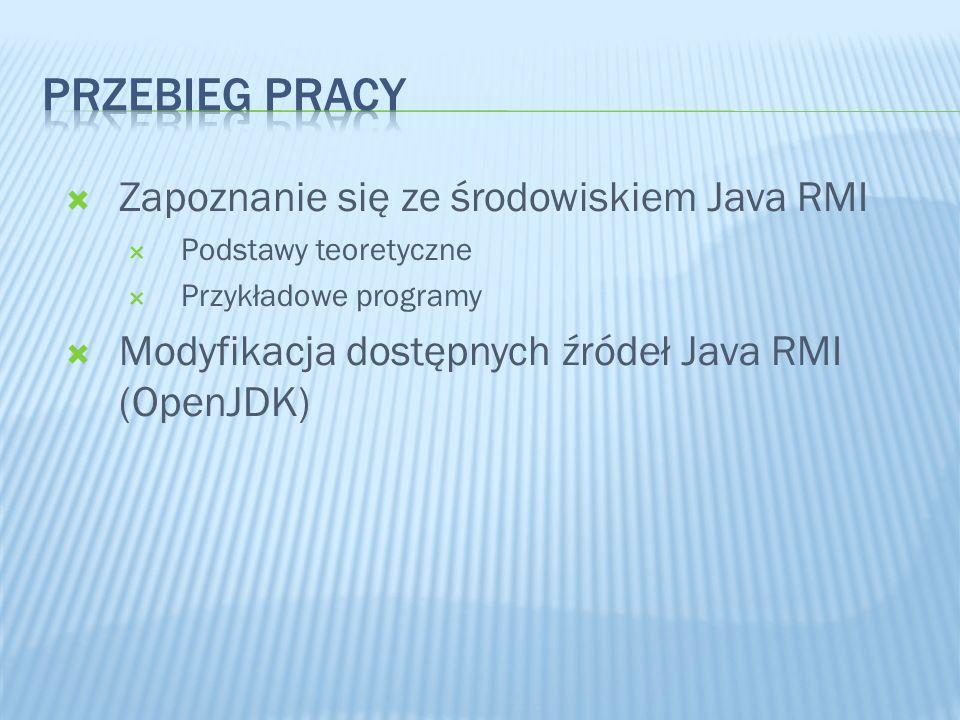 Przebieg pracy Zapoznanie się ze środowiskiem Java RMI