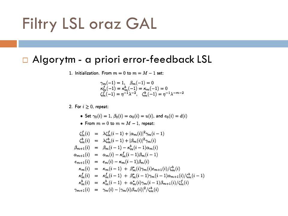 Filtry LSL oraz GAL Algorytm - a priori error-feedback LSL