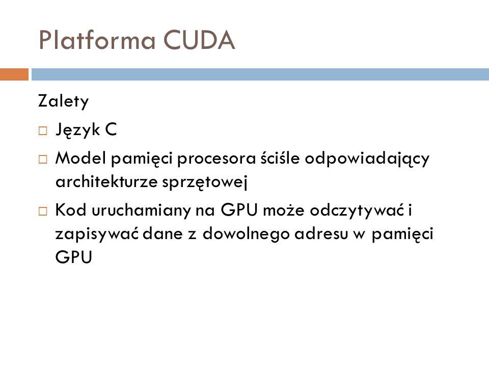 Platforma CUDA Zalety Język C