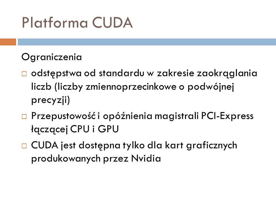 Platforma CUDA Ograniczenia