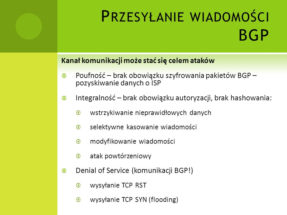 Przesyłanie wiadomości BGP