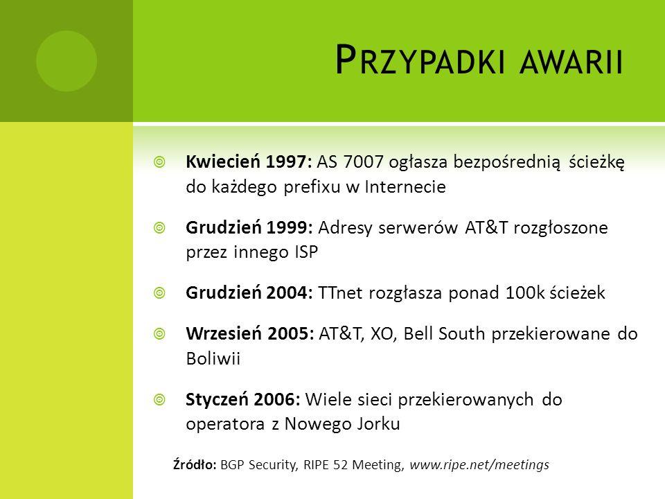 Przypadki awarii Kwiecień 1997: AS 7007 ogłasza bezpośrednią ścieżkę do każdego prefixu w Internecie.