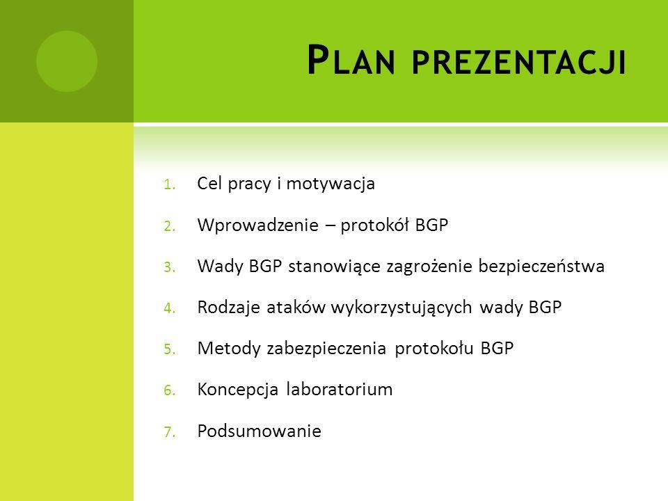 Plan prezentacji Cel pracy i motywacja Wprowadzenie – protokół BGP