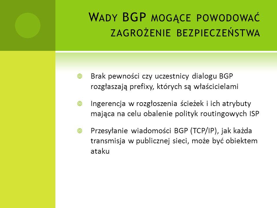 Wady BGP mogące powodować zagrożenie bezpieczeństwa