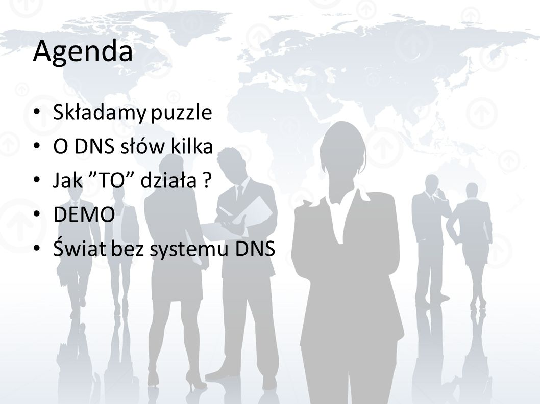 Agenda Składamy puzzle O DNS słów kilka Jak TO działa DEMO